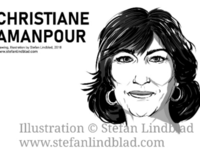 Drawing portrait of Christiane Amanpour on CNN