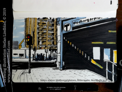 Drawing of Metro station entrance, Stockholm city illustration drawings