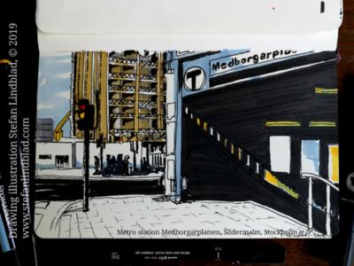 Drawing of Metro station entrance, Stockholm