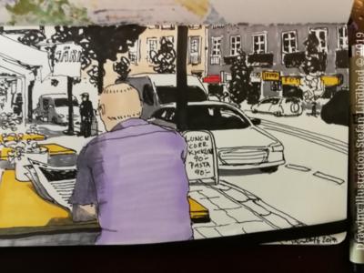 Cafe drawing Stockholm cafe illustration drawings