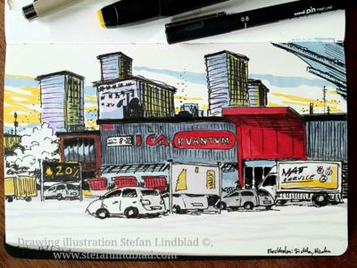 Morning drawing in Sketchbook drawing illustration urban
