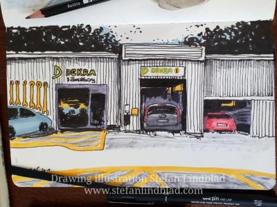 Car inspection garage drawing illustration drawing car
