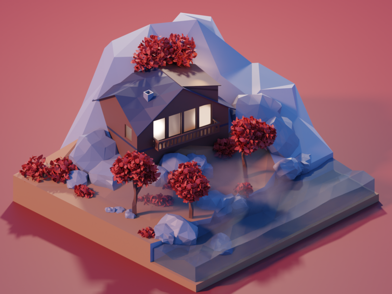 Autumn Atmosphere foggy river nature house tree blender illustration 3d art isometric