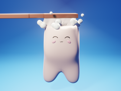 Brush brush brush ! toothpaste toothbrush tooth cute blue blender illustration 3d art