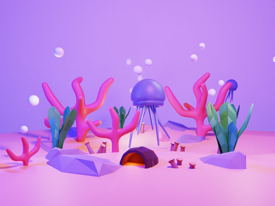 Coral pink coral reef ocean coral blender illustration 3d art