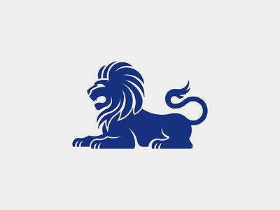 Banc de Binary logo logotype blue lion heraldry animal branding