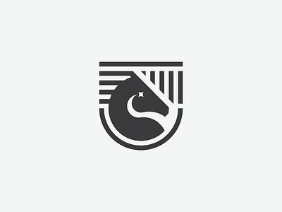 Equestrian Logo logo logotype heraldry horse equestrian head stripes star shield white black branding