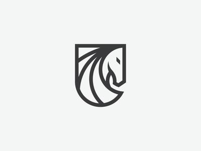 Equestrian Logo logo logotype heraldry horse equestrian head shield white black branding