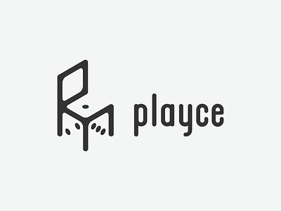 Playce logo logotype branding chair dice red isometric games casino gambling web