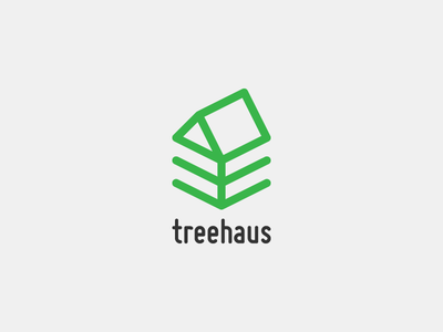 Treehaus tree house green logo logotype branding isometric wood roof
