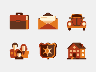 Icons flat yellow brown white house shield family documents briefcase car envelope icons