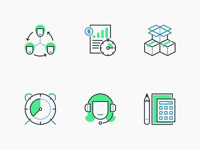 Icon Set headphones clock finance money blue green support work inventory management time user