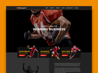 Delasport platform yellow red football soccer betting sport ui web design