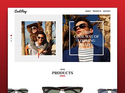 Cool Ray typography web design red sunglasses clean eyewear fashion ui