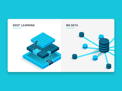 Deep Learning & Big Data web isometric 3d blue big data deep learning icons