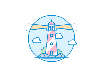 Lighthouse empty page illustration ico sky placeholder light cloud gray white green yellow red blue lighthouse icon