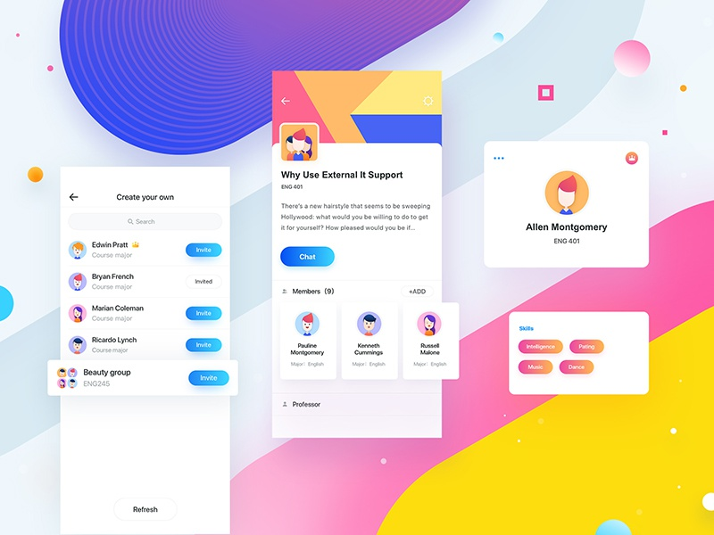 Team_two yellow purple design color clean ux ui