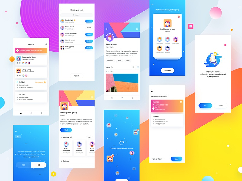 Team_all yellow purple design color clean ux ui