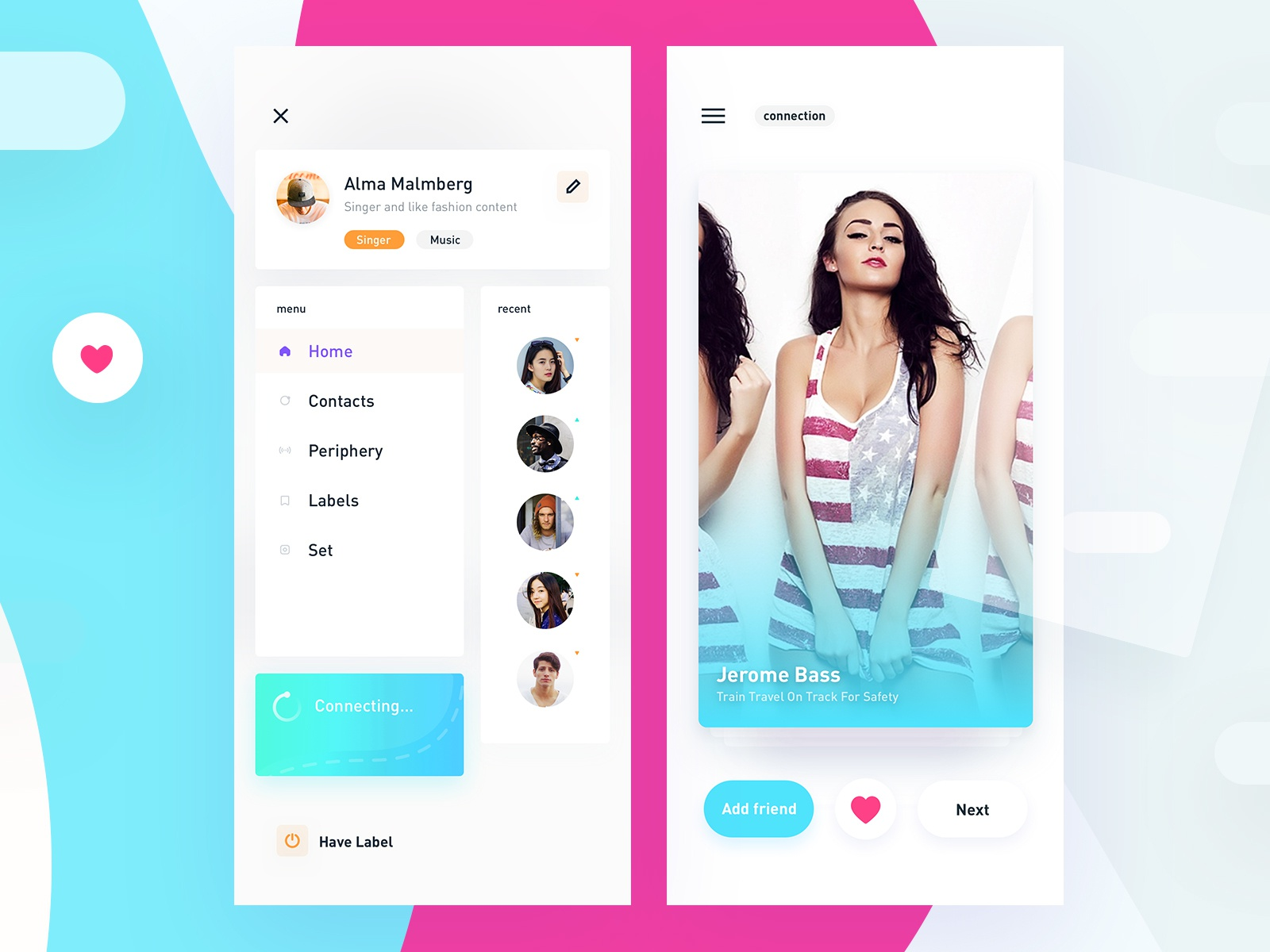 Face Four space color clean ux ui design