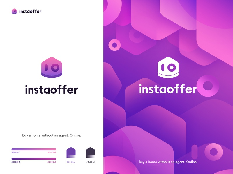 Instaoffer logo house purple color design logo