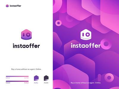 Instaoffer logo branding rdd radesign house purple color design logo