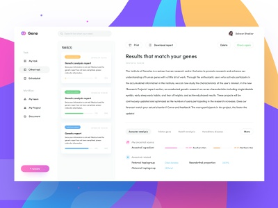 Genes Two rdd radesign gene card web color clean design