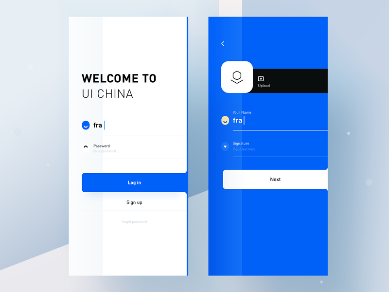 uicn part one rdd radesign signup login blue app clean ux ui design