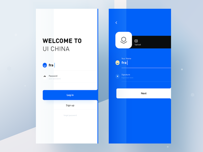 uicn part one rdd radesign signup login blue app clean ux ui design