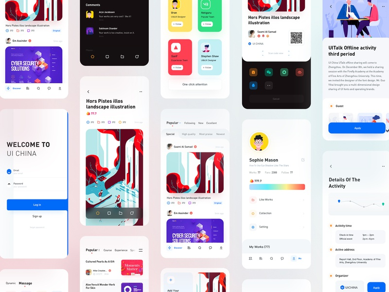 Uicn All rdd radesigner login detail feed app color clean ux ui design