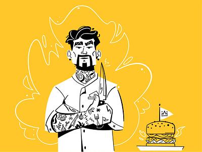 Cool chef cool cook food burger chef flat art design character cartoon vector illustration