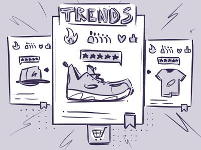 Trends interface item web social proof shop tech flat art design vector illustration