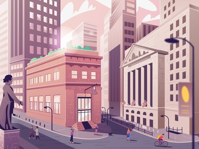 Wall Street | New York stock exchange building architecture landscape nyc financial wall street new york city cartoon vector illustration