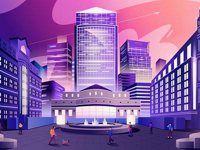 Canary Wharf | London skyscraper nightlife downtown architecture europe london city cartoon vector illustration