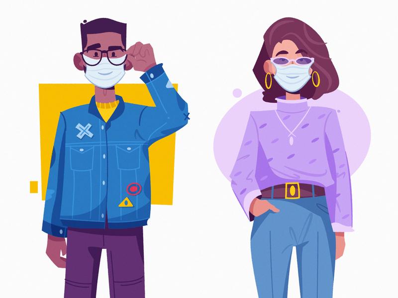 Safety art flat stay safe safety mask design character cartoon vector illustration
