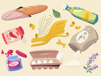 Grocery grocery food illustration marketplace farm food design cartoon vector illustration