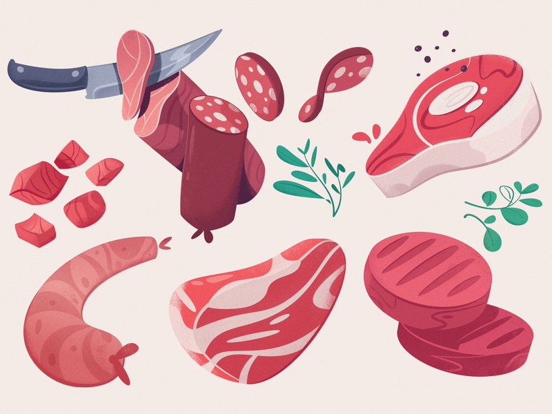 Meat farm marketplace food app meat food cartoon vector illustration