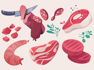 Meat farm marketplace food app meat food cartoon vector illustration