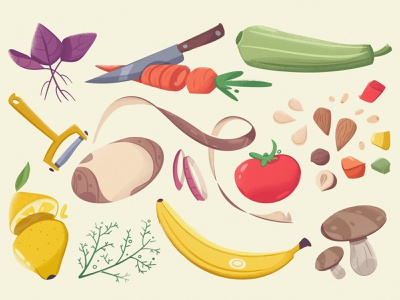 Vegetables & Fruits cartoon marketplace fruits vegetables farm art vector illustration