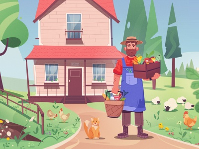 Farmer marketplace harvest farmer farm art character cartoon vector illustration