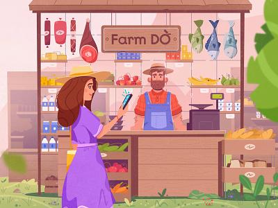 Marketplace food marketplace farmer farm art character cartoon vector illustration