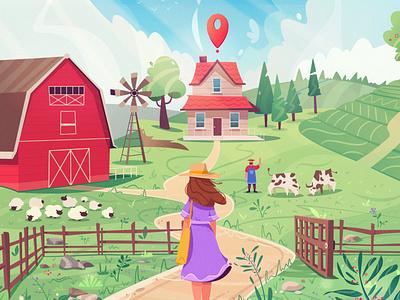 Farm house farmer summer landscape house farm art character cartoon vector illustration