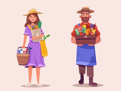 Farmer and buyer farm market character design farmer art design character cartoon vector illustration