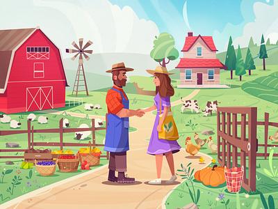 Good deal buyer farmer farm art design character cartoon vector illustration