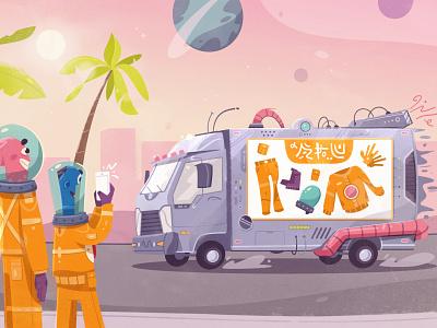 Truck car alien futuristic tech future art design character cartoon vector illustration