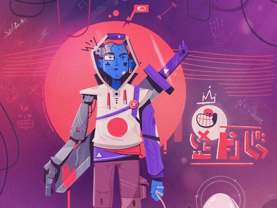No future cyberpunk cyborg futuristic robot tech future art character cartoon vector illustration