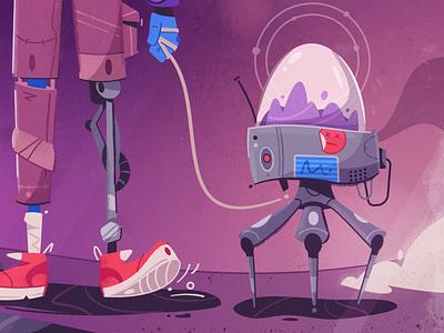 Biorobot bio futuristic robot tech future art design character cartoon vector illustration