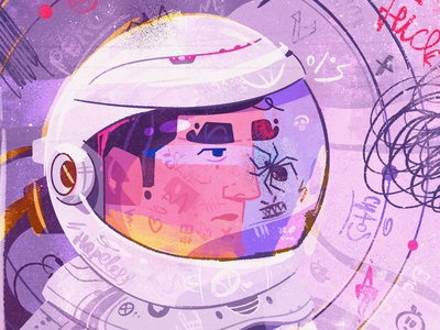 Chaos spaceman astronaut space character design tech future art character illustration
