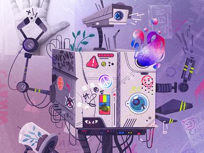 Broken robot illustrator cyberpunk watch streetart graffiti futuristic robot future art character illustration