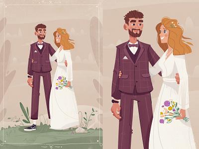 Wedding love together celebration bride groom wedding art design character cartoon vector illustration