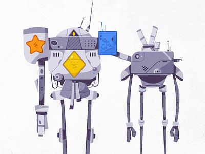 Teenage robots futuristic robot character design tech design character cartoon game vector illustration
